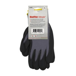 MaxiFlex MaxiFlex® Ultimate™ XL Size Nylon and Lycra® Gloves with Nitrile Coated Grip in Black and Grey P34874TXL