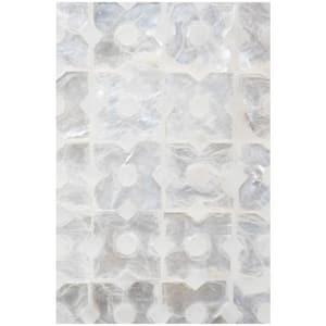 Linkasink Mother Of Pearl 24 in. Floor Mount Vanity in White with Satin Brass LVAN24W004SB