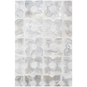 Linkasink Mother Of Pearl 24 in. Floor Mount Vanity in White with Satin Nickel LVAN24W004SN
