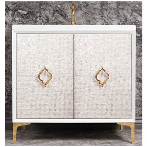 Linkasink Mother Of Pearl 36 in. Floor Mount Vanity in White with Satin Brass LVAN36W004SB