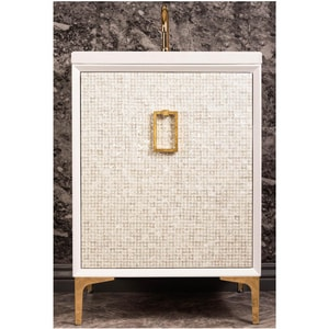 Linkasink Mother Of Pearl 24 in. Floor Mount Vanity in White with Polished Brass LVAN24W005PB