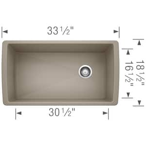 Blanco America Diamond™ 33-1/2 x 18-1/2 in. No Hole Composite Single Bowl Undermount Kitchen Sink in Truffle B441765