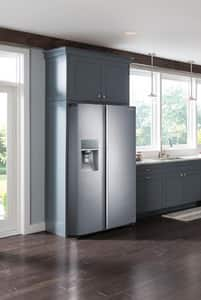 Samsung Food ShowCase 21.5 cf 115V Counter Depth Side-by-Side Refrigerator with Metal Cooling in Stainless Steel SRH22H9010SRAA