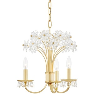 Hudson Valley Lighting Beaumont 15-1/2 in. 35W 3-Light Wedge Xenon Chandelier in Aged Brass HUD4419AGB