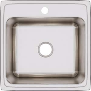 Elkay Lustertone™ Classic 22 x 22 in. 1 Hole Stainless Steel Single Bowl Drop-in Kitchen Sink in Lustrous Satin EDLR2222121