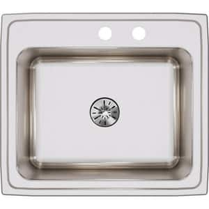 Elkay Gourmet® 2 Hole Single Bowl Top Mount Kitchen Sink with Perfect Drain in Lustrous Highlighted Satin EDLR252210PDMR2