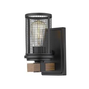 Millennium Lighting Mesa 100W 1-Light Medium E-26 Incandescent Wall Sconce in Matte Black with Wood Grain M3531MBWG