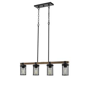 Millennium Lighting Mesa 100W 4-Light Medium E-26 Pendant in Matte Black with Wood Grain M3524MBWG