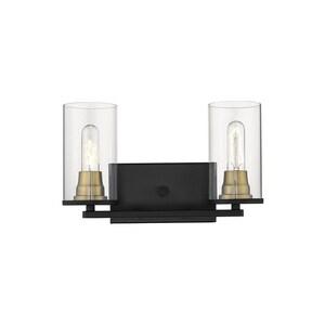Millennium Lighting Burbank 100W 2-Light Medium E-26 Vanity Fixture in Matte Black with Heirloom Bronze M3492MBHBZ