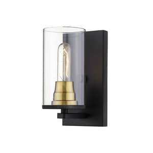 Millennium Lighting Burbank 100W 1-Light Medium E-26 Incandescent Wall Sconce in Matte Black with Heirloom Bronze M3491MBHBZ