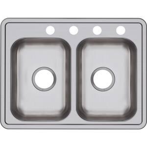 Dayton 25 x 19 in. 4 Hole Stainless Steel Double Bowl Drop-in Kitchen Sink in Satin DD225194