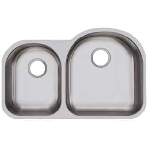 Dayton Dayton® 31-1/4 x 20 in. No Hole Stainless Steel Double Bowl Undermount Kitchen Sink in Radiant Satin DDXUH3119L