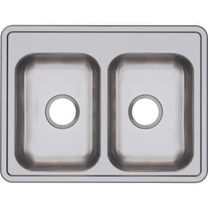 Dayton 25 x 19 in. No Hole Stainless Steel Double Bowl Drop-in Kitchen Sink in Satin DD225190