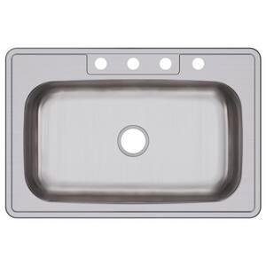 Dayton 33 x 22 in. 4 Hole Stainless Steel Single Bowl Drop-in Kitchen Sink in Elite Satin DDSE133224