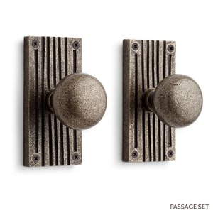 Signature Hardware Shima 5 in. Brass Privacy Door Set Knob 2-3/4 in. Backset in Satin Brass SH444765