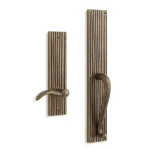 Signature Hardware Shima Brass Rectangular Entrance Door Set with Dummy Handle in Satin Brass SH441418