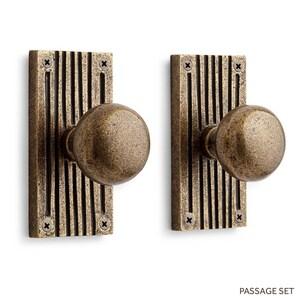 Signature Hardware Shima 5 in. Brass Privacy Door Set Knob 2-3/8 in. Backset in Satin Brass SH444580