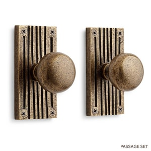 Signature Hardware Shima 5 in. Brass Passage Door Set Knob 2-3/4 in. Backset in Satin Brass Passage SH444759