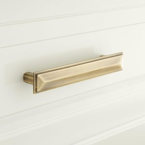 Signature Hardware Bresnick 1-1/8 x 7-1/8 in. Brass Cabinet Pull in Brushed Nickel SH444356
