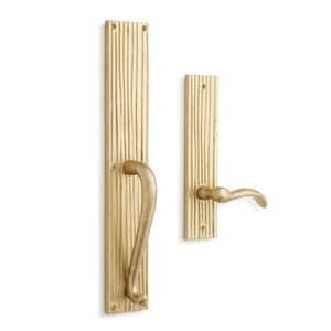 Signature Hardware Shima Brass Rectangular Entrance Door Set with Dummy Handle in Brushed Nickel SH441417