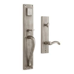Signature Hardware Shima Brass Rectangular Entrance Door Set with Lever Handle in Satin Brass SH441312
