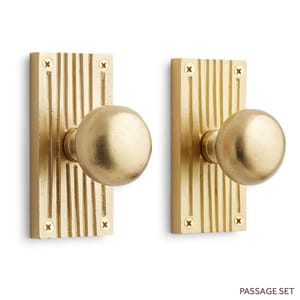 Signature Hardware Shima 5 in. Brass Passage Door Set Knob 2-3/8 in. Backset in Brushed Nickel SH444585