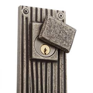 Signature Hardware Shima Bronze Rectangular Entrance Door Set with Lever Handle in Antique Pewter SH441316