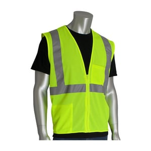 PIP® XL/2X Size Zipper Polyester Mesh Type-R Class-2 Vest in Hi-Viz Lime Yellow P3020702ZLY2X