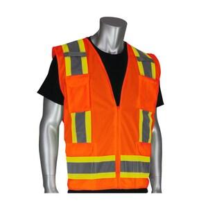 PIP® XXL Size Polyester Mesh Surveyor Safety Vest in Hi-Viz Orange P3020500ORG2XBRAND