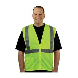 PIP® XL/2X Size Zipper Polyester Mesh Type-R Class-2 Vest in Hi-Viz Lime Yellow P3020702ZLY2X