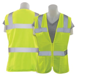 ERB Safety S Size Polyester Women Safety Vest in Hi-Viz Lime E61915 at Pollardwater