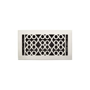 Signature Hardware Yuri 6 x 14 in. Residential Brass Floor Register in Brushed Nickel SH445227