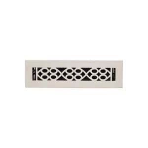 Signature Hardware Yuri 2-1/4 x 14 in. Residential Brass Floor Register in Brushed Nickel SH445192