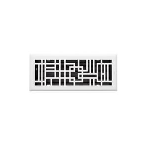 Signature Hardware Baer 4 x 10 in. Residential Heavy Duty Steel Ceiling & Sidewall Register in White SH445738