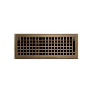 Signature Hardware 4 x 12 in. Floor Register in Antique Brass SH282230