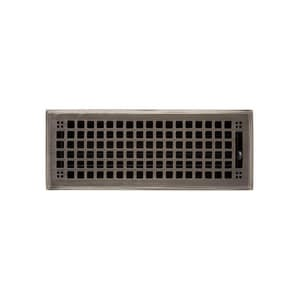 Signature Hardware Mission 4 x 10 in. Residential Brass Floor Register in Distressed Antique Pewter SH440937