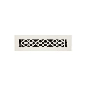 Signature Hardware Yuri 2-1/4 x 12 in. Residential Brass Floor Register in Polished Nickel SH445190