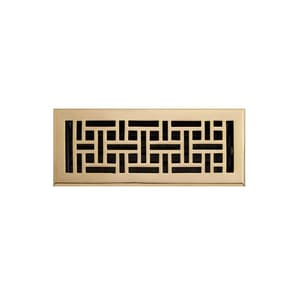 Signature Hardware 4 x 10 in. Floor Register in Polished Brass SH393367