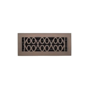Signature Hardware Yuri 4 x 10 in. Residential Brass Floor Register in Oil Rubbed Bronze SH445204