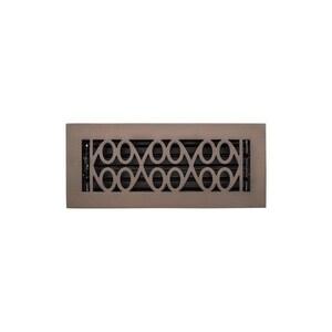 Signature Hardware Yuri 4 x 14 in. Residential Brass Floor Register in Oil Rubbed Bronze SH445214