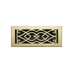 Signature Hardware 4 x 12 in. Floor Register in Polished Brass SH160265
