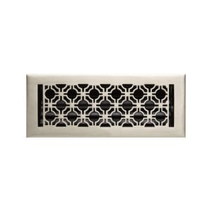 Signature Hardware Geometric 4 x 12 in. Residential Brass Ceiling & Sidewall Register in Brushed Nickel SH398675