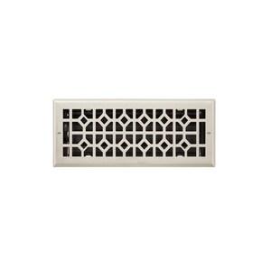 Signature Hardware Appert 4 x 10 in. Residential Steel Ceiling & Sidewall Register in Brushed Nickel SH445789