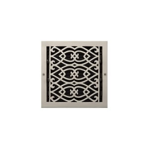 Signature Hardware Victorian 14 x 14 in. Residential Brass Ceiling & Sidewall Register in Brushed Nickel SH264913
