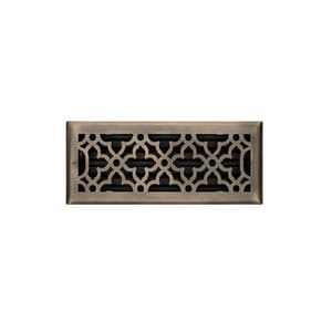 Signature Hardware Ballas 4 x 10 in. Floor Register in Antique Brass Steel SH435475