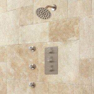 Signature Hardware Isola Three Handle Single Function Shower System in Brushed Nickel SH403269