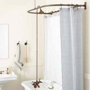 Signature Hardware English Three Handle Shower System in Oil Rubbed Bronze SH428891