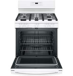 GE Appliances 30 in. 18000 BTU 5-Burner Freestanding Gas Range in White GJGB660DEJWW