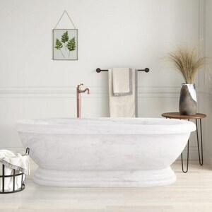 Signature Hardware Tiberius 71 x 37-3/4 in. Freestanding Bathtub Center Drain in Carrara Marble SH251541