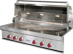 Wolf Range 54 in. 79000 BTU 6-Burner Natural Gas Built-In Grill in Stainless Steel WOG54